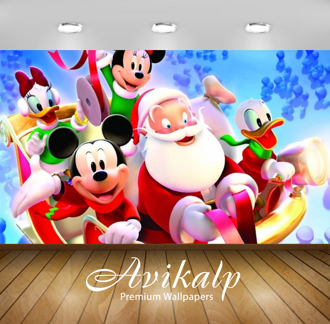 Avikalp Exclusive Awi2058 Disney Christmass Mickey Mouse With Santa Claus  Full HD Wallpapers for Li