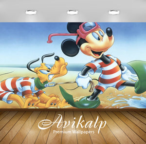 Avikalp Exclusive Awi2061 Disney Mickey Mouse And Pluto Disney Characters Sea Beach Bathing  Full HD