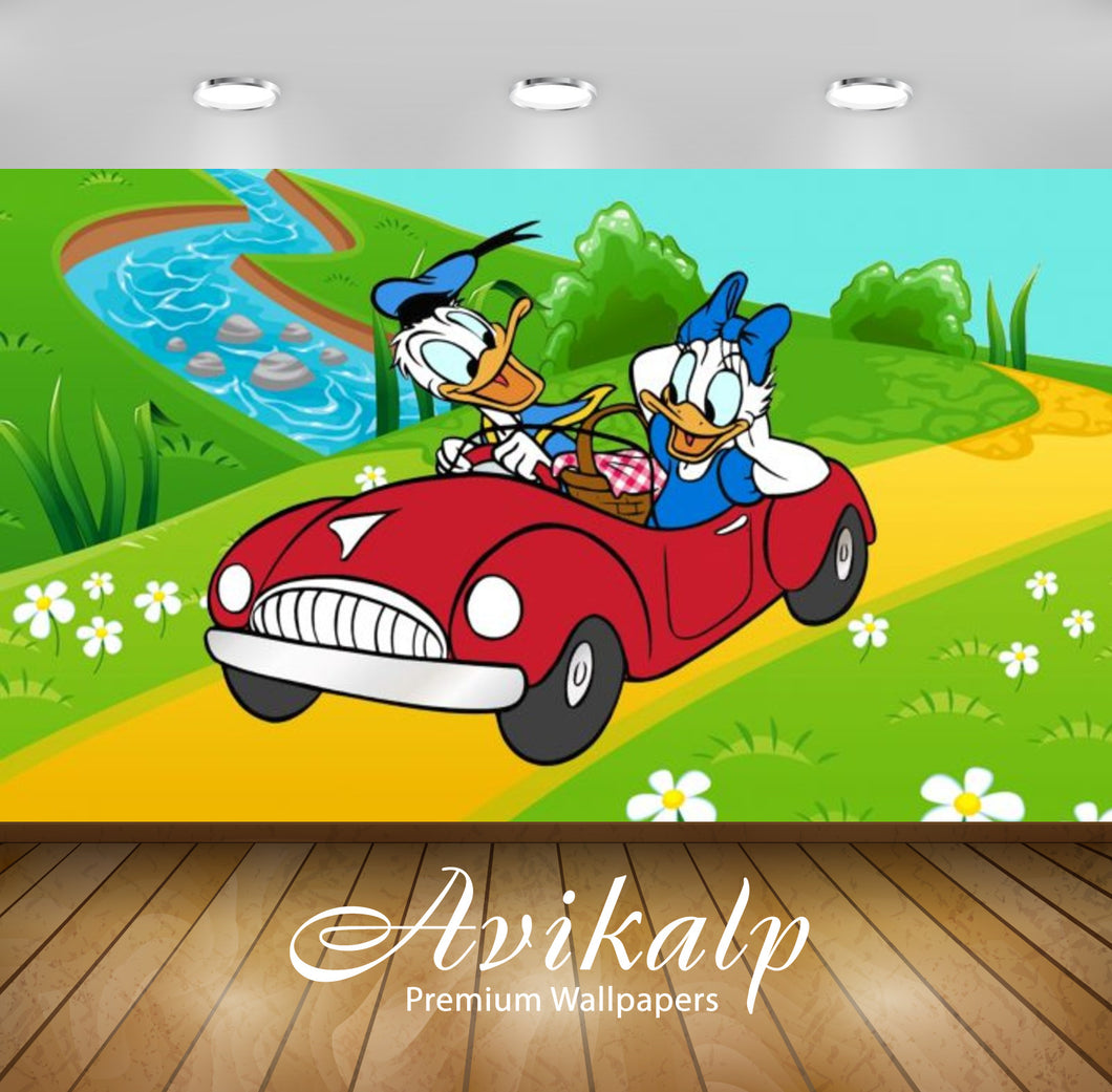 Avikalp Exclusive Awi2065 Donald And Daisy Duck Walk Ride Car Picnic  Full HD Wallpapers for Living