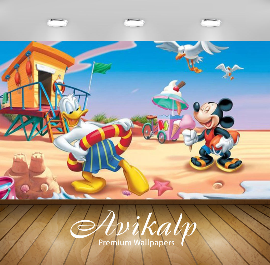 Avikalp Exclusive Awi2070 Donald Duck And Mickey Mouse Summer Vacation Beach  Full HD Wallpapers for