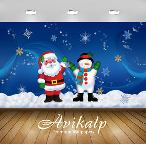 Avikalp Exclusive Awi2087 Merry Christmas Santa Claus And Snowman Old Friends  Full HD Wallpapers fo