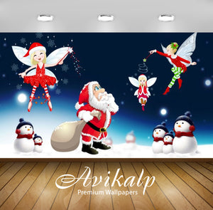 Avikalp Exclusive Awi2088 Merry Christmas Santa Claus   Full HD Wallpapers for Living room, Hall, Ki