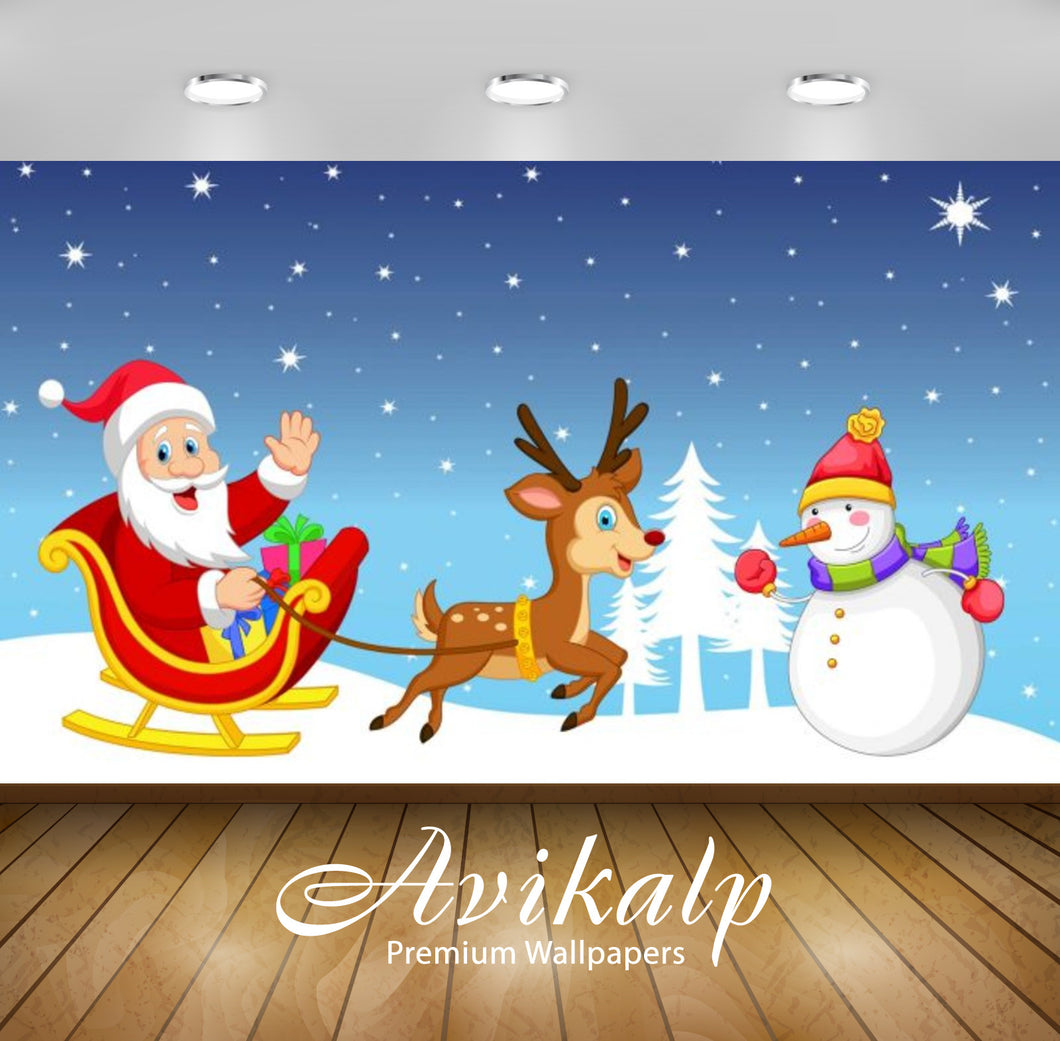 Avikalp Exclusive Awi2090 Merry Christmas Snowman Santa Claus Sleigh Reindeer Gifts Winter Christmas