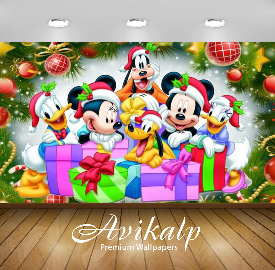 Avikalp Exclusive Awi2091 Merry Christmas Than Mickey And Friends  Full HD Wallpapers for Living roo