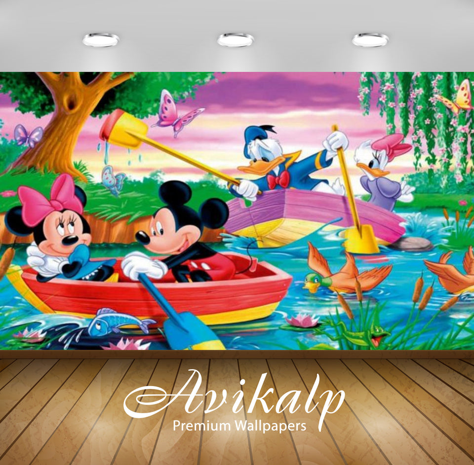 Avikalp Exclusive Awi2095 Mickey Mouse And Donald Duck River Boat Rowing  Full HD Wallpapers for Liv