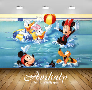 Avikalp Exclusive Awi2098 Mickey Mouse And Friends Swimming Playing In The Pool With Water  Full HD