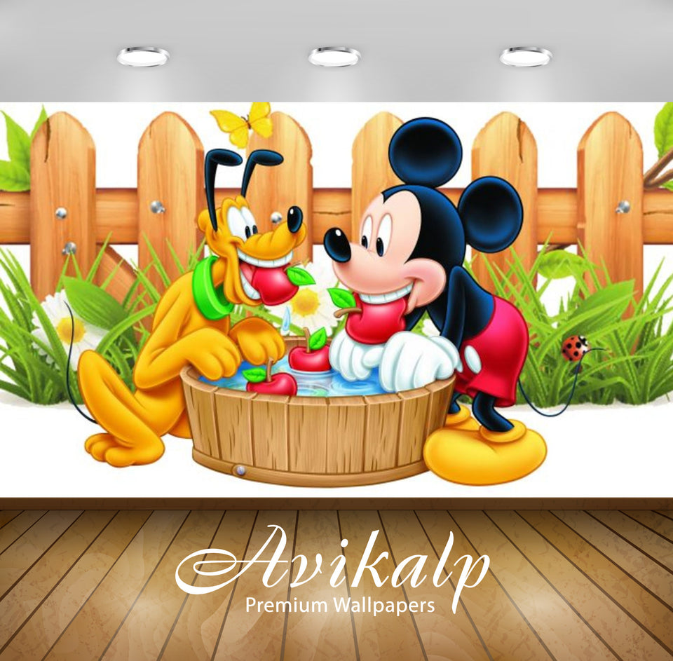 Avikalp Exclusive Awi2100 Mickey Mouse And Pluto Apple Red Wooden Fence  Full HD Wallpapers for Livi