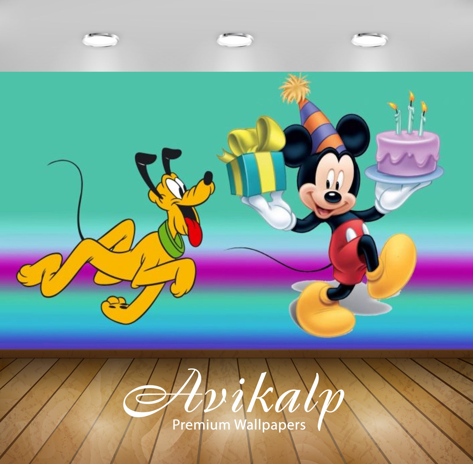 Superb Avikalp Exclusive Awi2102 Mickey Mouse And Pluto Birthday Cake Funny Birthday Cards Online Elaedamsfinfo