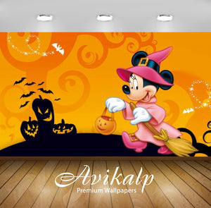Avikalp Exclusive Awi2108 Mickey Mouse Halloween Pumpkin Lantern Celebration  Full HD Wallpapers for