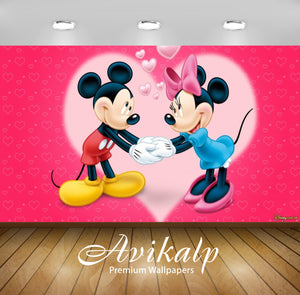 Avikalp Exclusive Awi2109 Mickey Mouse Mini Love  Full HD Wallpapers for Living room, Hall, Kids Roo