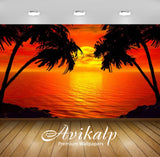 Avikalp Exclusive Awi2115 Paradise Sunset Tropical Island Palm Sea Red Sky  Full HD Wallpapers for L