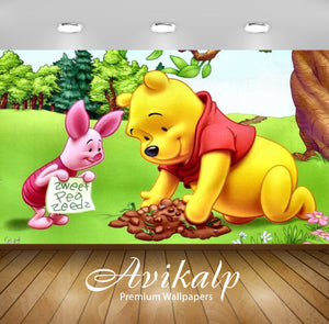 Avikalp Exclusive Awi2122 Piglet And Winnie The Pooh Planting Flowers  Full HD Wallpapers for Living