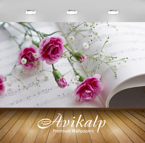 Avikalp Exclusive Awi2124 Pink Carnations Gypsophila Paniculata Sheet Music  Full HD Wallpapers for