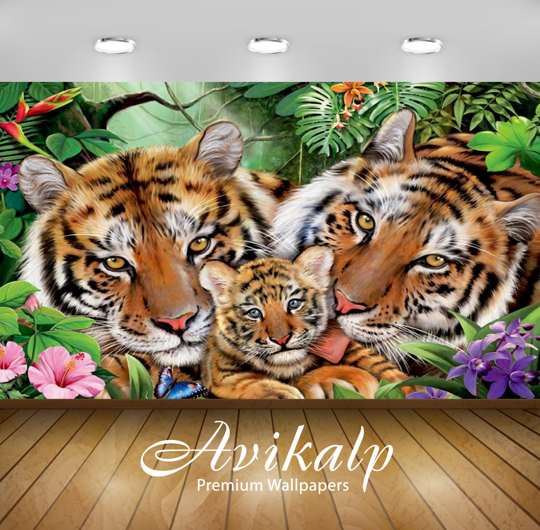 Avikalp Exclusive Awi2160 Tiger Love Tiger Jigsaw  Full HD Wallpapers for Living room, Hall, Kids Ro