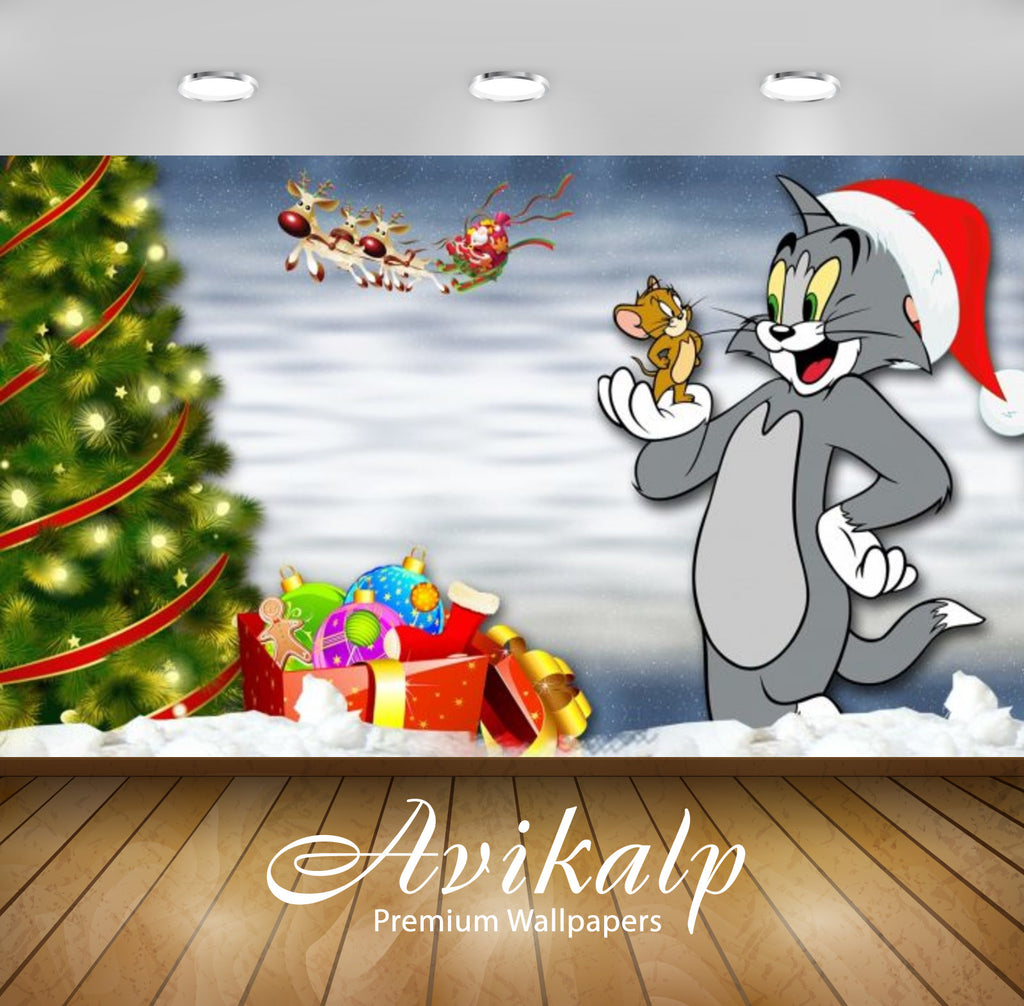 Avikalp Exclusive Awi2173 Tom And Jerry Winter Tails Christmas Tree Santa Claus Gifts Full Hd Wallp