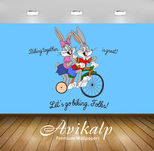 Avikalp Exclusive Awi2196 Bugs Bunny and Lola Bunny driving bicycle Full HD Wallpapers for Living ro
