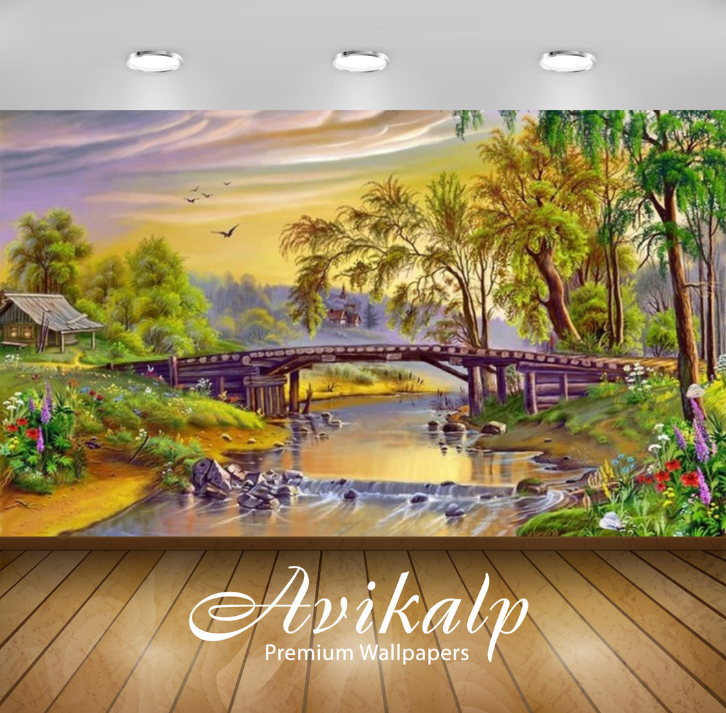 Avikalp Exclusive Awi2217 Download wallpaper Landscape river bridge grass with flowers trees birds F
