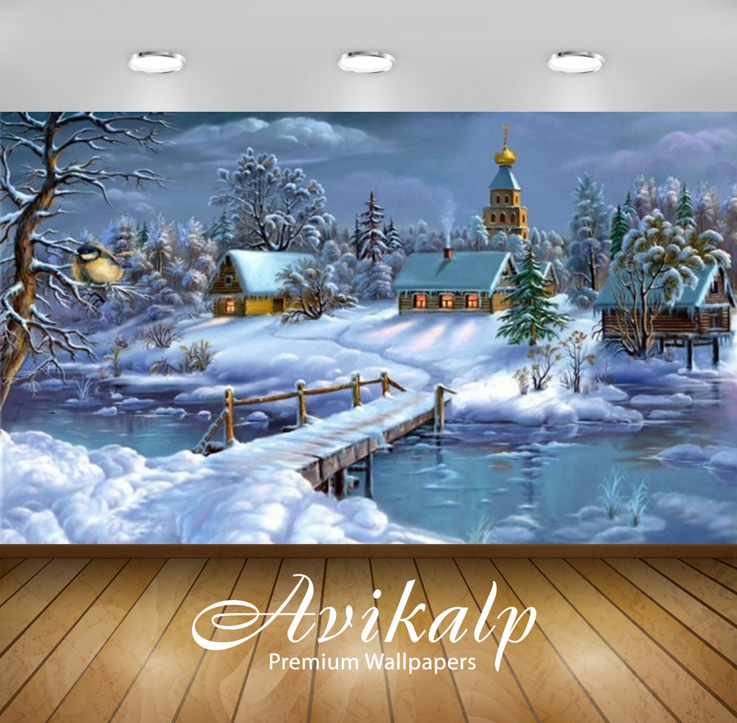 Avikalp Exclusive Awi2221 Download wallpaperLandscape winter frozen river house trees with snow Full