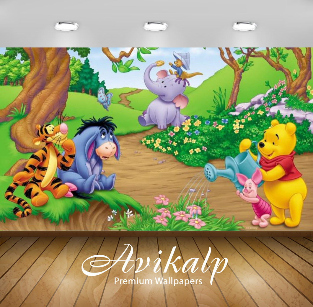 Avikalp Exclusive Awi2222 Garden of Winnie the Pooh Full HD Wallpapers for Living room, Hall, Kids R