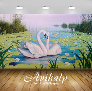 Avikalp Exclusive Awi2242 Swan lake color lotus reeds Full HD Wallpapers for Living room, Hall, Kids