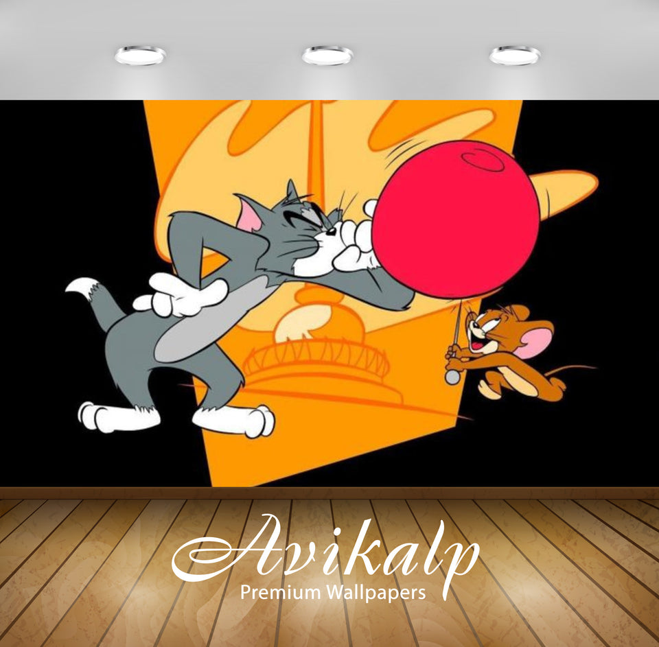 Avikalp Exclusive Awi2251 Tom and Jerry blowing balloon Full HD Wallpapers for Living room, Hall, Ki