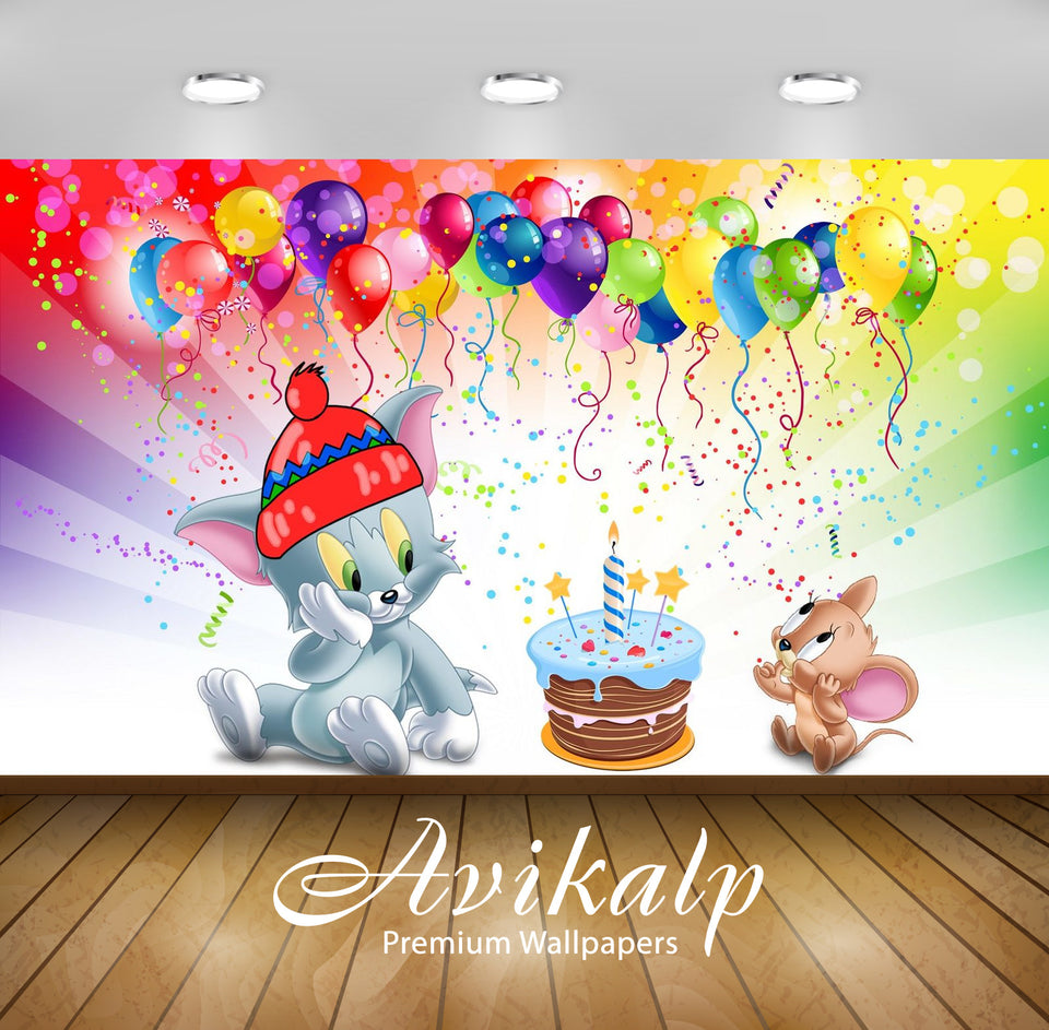 Avikalp Exclusive Awi2261 Tom And Jerry first birthday cake Full HD Wallpapers for Living room, Hall
