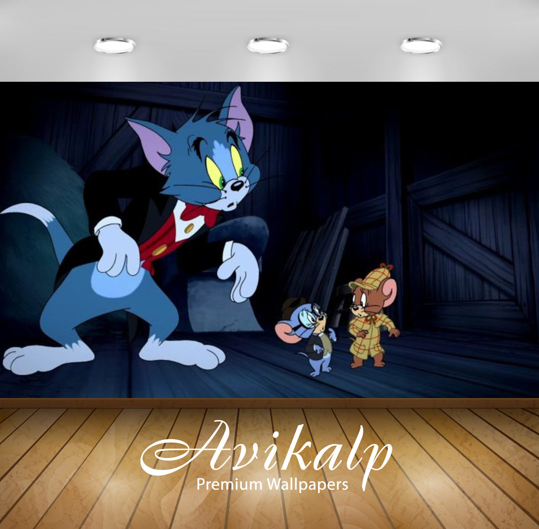 Avikalp Exclusive Awi2270 Tom And Jerry Meet Sherlock Holmes Full HD Wallpapers for Living room, Hal