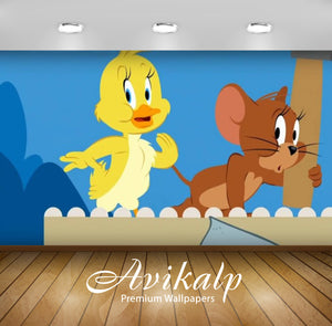 Avikalp Exclusive Awi2276 Tom and Jerry Show Belly Achin Wallpaper Full HD Wallpapers for Living roo