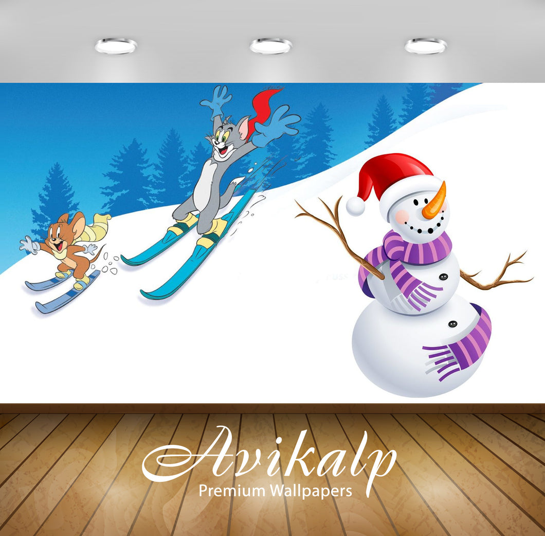 Avikalp Exclusive Awi2277 Tom And Jerry Skating winter snow snowman Skiing Full HD Wallpapers for Li
