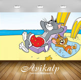 Avikalp Exclusive Awi2279 Tom And Jerry Summer holidays Full HD Wallpapers for Living room, Hall, Ki