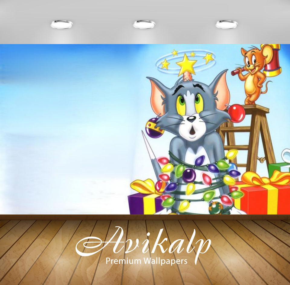 Avikalp Exclusive Awi2286 Tom And Jerrys Christmas Paws For A Holiday Full HD Wallpapers for Living