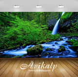 Avikalp Exclusive Awi2298 Waterfall and Stream Green Forest rocks green moss Full HD Wallpapers for