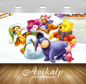 Avikalp Exclusive Awi2309 Winnie The Pooh And Friend Winter Games making snowman Full HD Wallpapers
