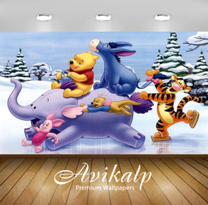 Avikalp Exclusive Awi2335 Winnie the Pooh Heffalump Tigger Piglet and Eeyore Winter skating on ice F