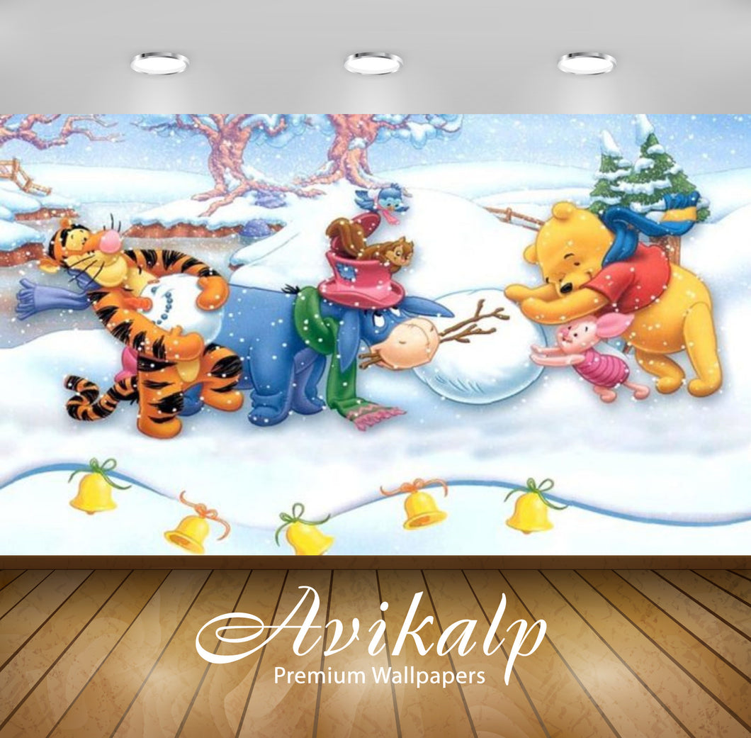 Avikalp Exclusive Awi2338 Winnie the pooh making snowman Merry Christmas Full HD Wallpapers for Livi