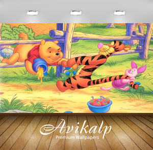 Avikalp Exclusive Awi2348 Winnie the Pooh Tigger and Piglet wooden fence Full HD Wallpapers for Livi