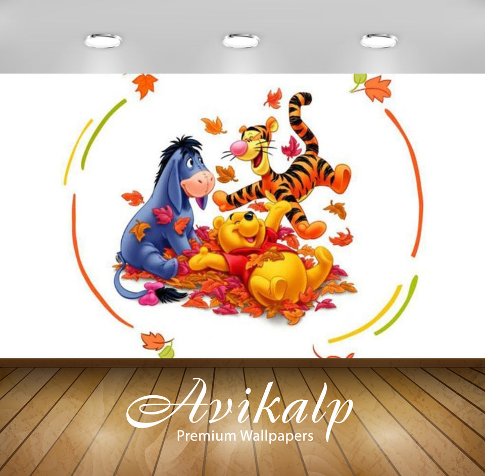 Avikalp Exclusive Awi2349 Winnie the Pooh Tigger Eeyore gray donkey Autumn Leaves Full HD Wallpapers