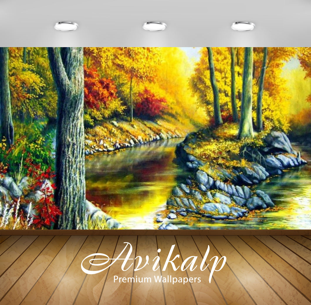 Avikalp Exclusive Awi2401 Autumn Gold Full HD Wallpapers for Living room, Hall, Kids Room, Kitchen,