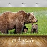 Avikalp Exclusive Awi2419 Bear With Two Young Cubs In A Field Of Green Grass Full HD Wallpapers for