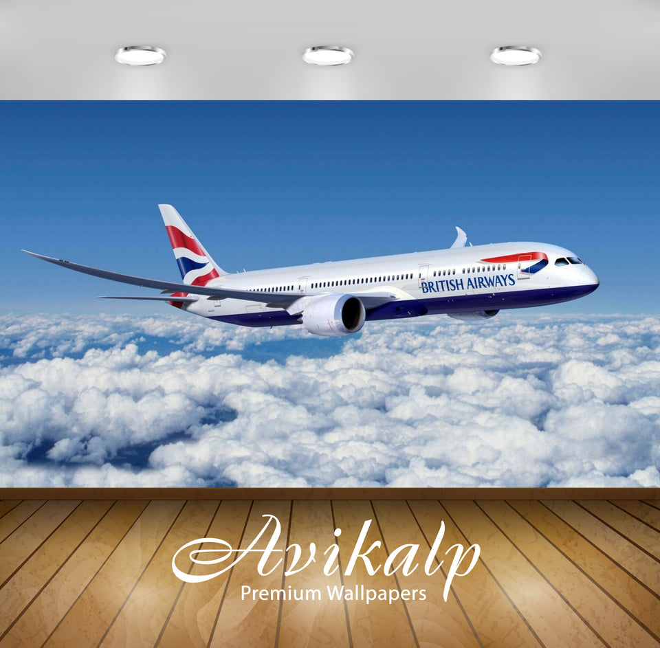 Avikalp Exclusive Awi2453 Boeing 777 British Airways Aircraft Full HD Wallpapers for Living room, Ha