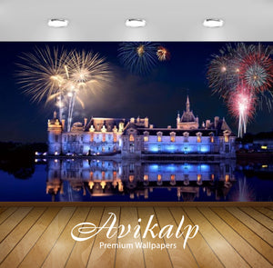 Avikalp Exclusive Awi2491 Celebration Fireworks Palace Lake Lights Reflection Full HD Wallpapers for
