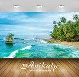 Avikalp Exclusive Awi2526 Costa Rica Wild Caribbean Beach In Manzanillo Sandy Beach Ocean Waves Palm