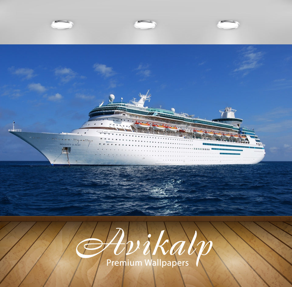 Avikalp Exclusive Awi2535 Cruise Ship Sea Full HD Wallpapers for Living room, Hall, Kids Room, Kitch