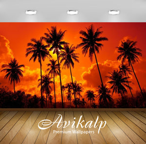 Avikalp Exclusive Awi2538 Crveno Sunset Sky With Palm Full HD Wallpapers for Living room, Hall, Kids