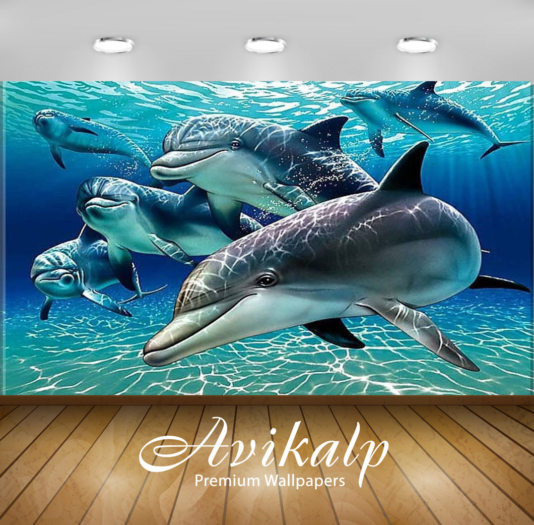 Avikalp Exclusive Awi2573 Dolphins Full HD Wallpapers for Living room, Hall, Kids Room, Kitchen, TV
