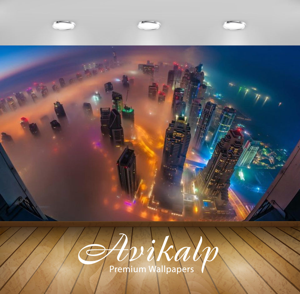Avikalp Exclusive Awi2583 Dubai In Fog Night Photograph From Air United Arab Emirates Full HD Wallpa
