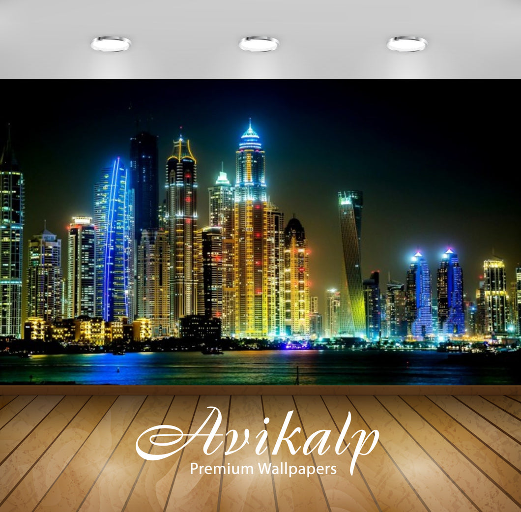 Avikalp Exclusive Awi2584 Dubai Megapolis Night Cities Full HD Wallpapers for Living room, Hall, Kid