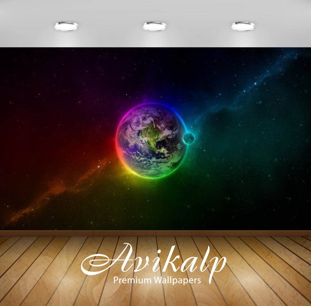 Avikalp Exclusive Awi2585 Earth Colourful Space Full HD Wallpapers for Living room, Hall, Kids Room,