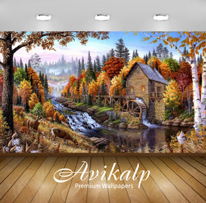 Avikalp Exclusive Awi2613 Fall Mill Wooden Mountain River Waterfall Forest With Pine Trees Deer Art