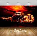 Avikalp Exclusive Awi2622 Fire Classic Car Full HD Wallpapers for Living room, Hall, Kids Room, Kitc